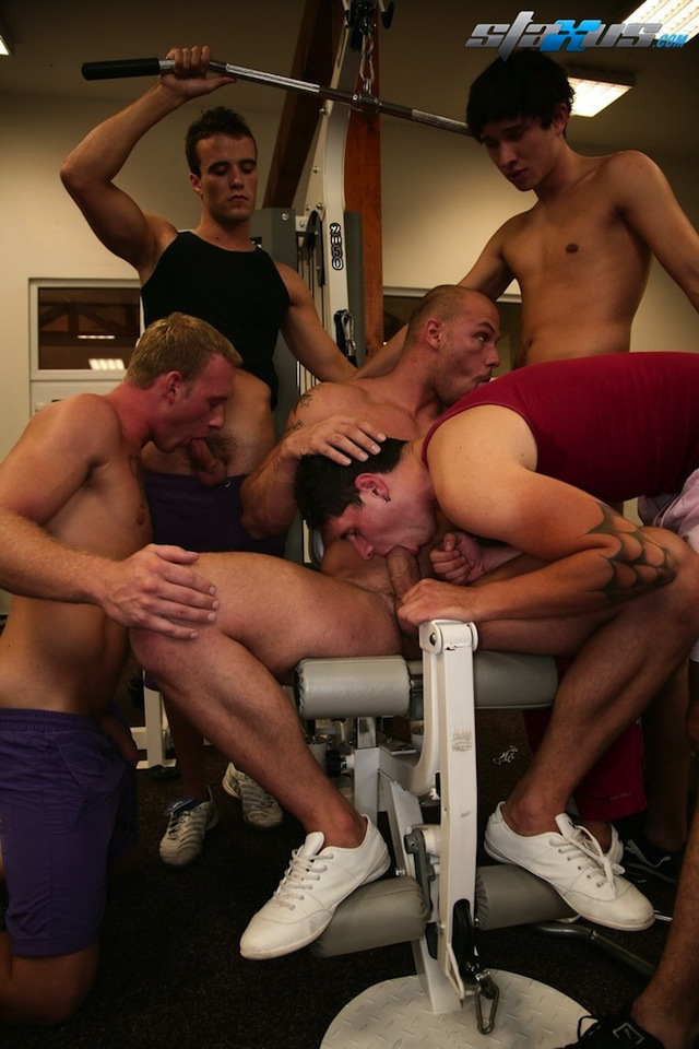 Hardcore Gay Pics group gay orgy hardcore gym session staxus scene down featured