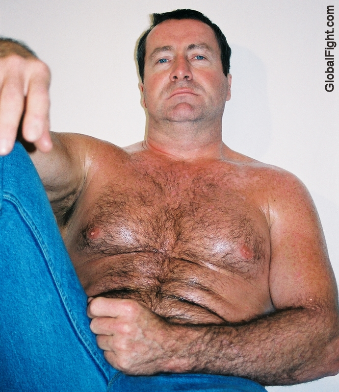 Bare chested hairy men