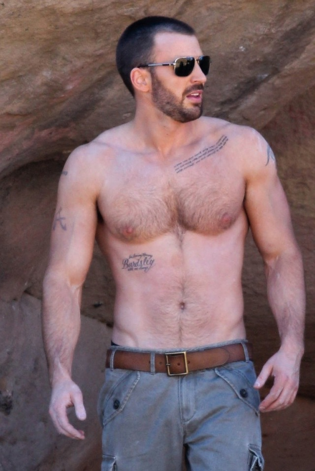 Chris Evans Porn hairy magazine chris shirtless chest morning scruffy evans heres good details