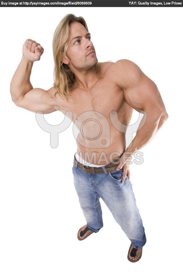 hot male body builders long male sexy athletic hair body blonde builder stock