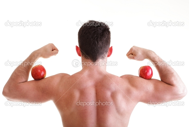 hot male body builders photo male sexy athletic red body depositphotos builder holding stock apple
