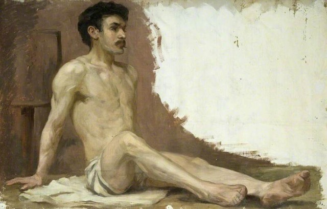 male model nude pictures school model male nude large semi paintings arts yourpaintings busmt hrt seated herkomer