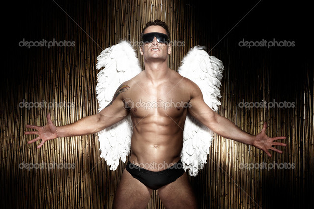 naked muscular guys muscular photo male angel handsome depositphotos stock conceptual