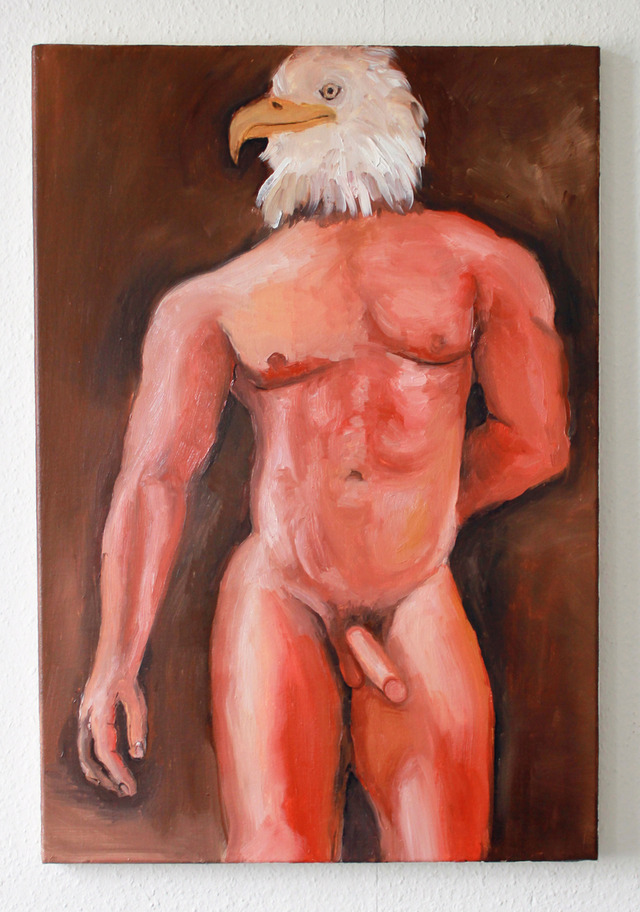 sex man nude naked nude man eagle oil painting standing hybrid