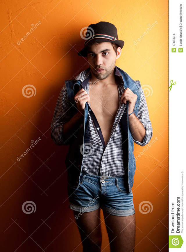 sexy and gay gay man sexy jeans hat stock