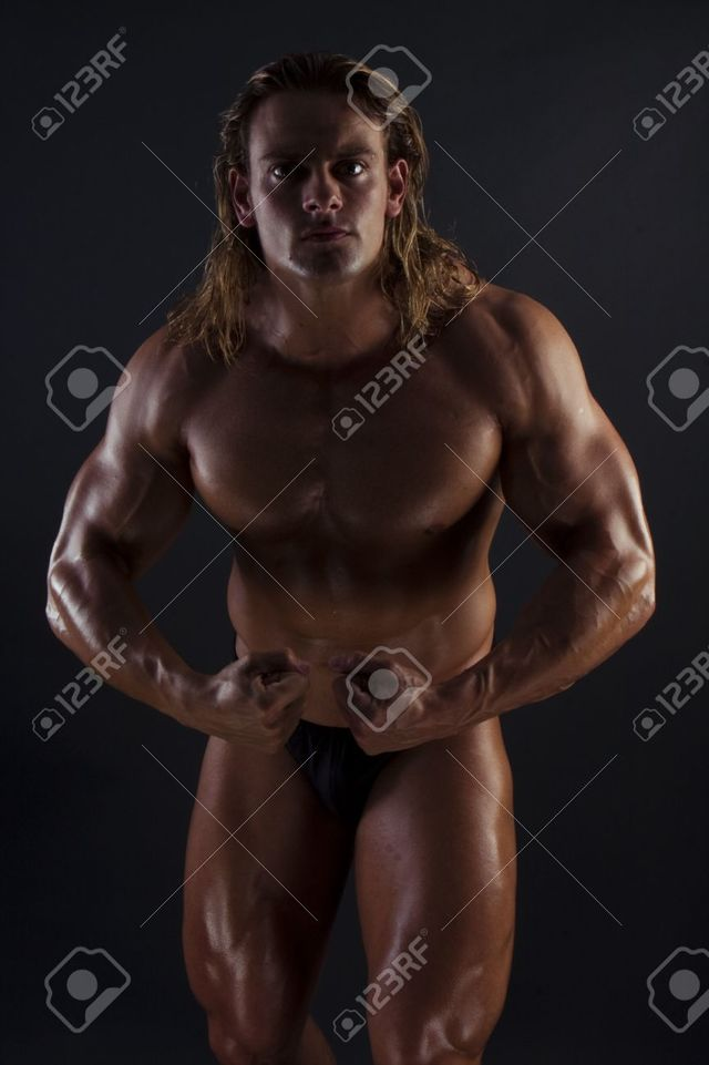 sexy bodybuilder man black photo long male sexy athletic hair body blonde builder stock background stryjekk