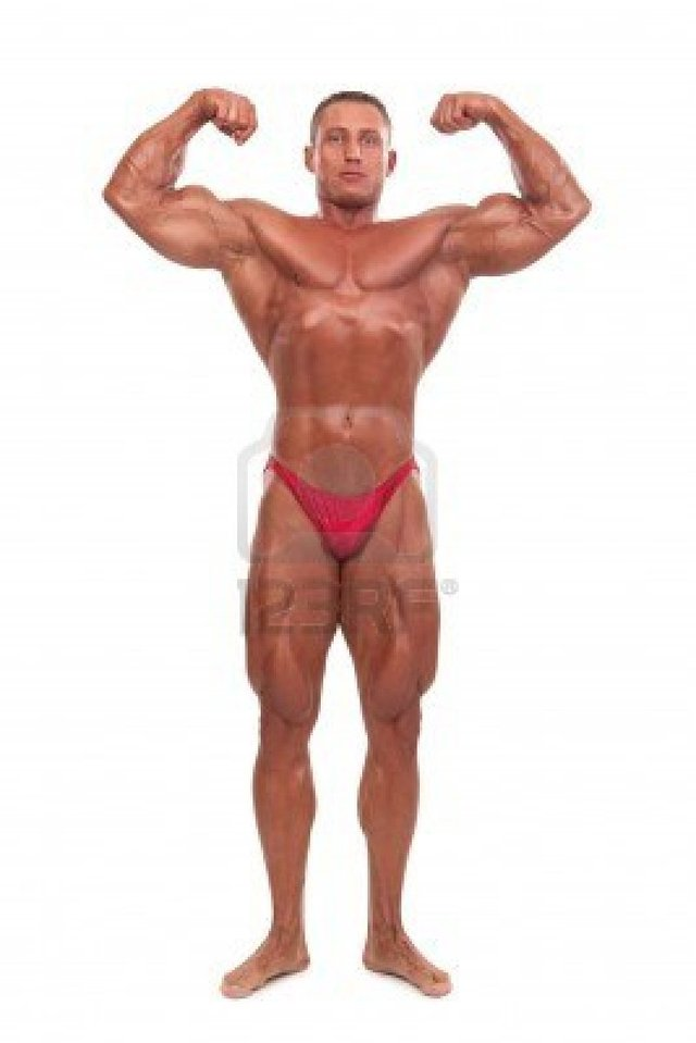 sexy bodybuilder man white photo male body pose contest builder attractive isolated background frantysek demonstrating