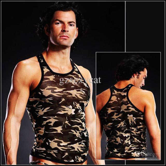 sexy man gays muscle tank sexy product vest albu camouflage lingeries