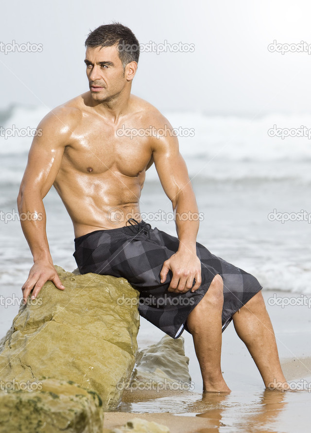 sexy pics man photo man sexy beach depositphotos stock