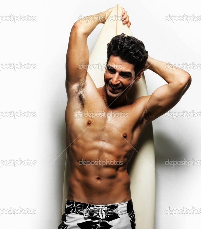 sexy pics man white muscular photo torso man sexy against depositphotos stock smiling surfboard