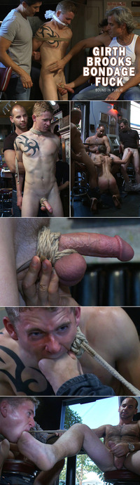 Girth Brooks Porn collages boundinpublic girth brooks bondage fucks bound sub bar