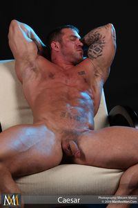 Muscle Hunk Bodybuilder Gay Porn Legend Caesar Jacks Off His Cock