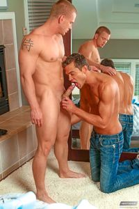 James Huntsman Porn ripped muscle jock james huntsman gets his hard cock sucked off fucks lean stud luke milan next door buddies pic