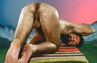 Athletic Man Gay Porn butch gaylord retro eighties athletic model guild hairy thick beard showing off his fuzzy hole work boots hilarious art direction gay porn flashback fridays