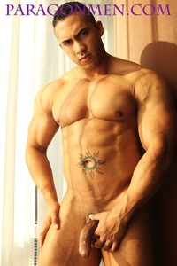 Muscle men Naked frontal nude bodybuilder hector from paragon men ripped muscle strips naked strokes his hard cock photo