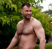 Muscled Gay Porn aaron cage gay hardcore porn star muscle bear hairy huge pecs bottom ass jockstrap colt studio group gruff stuff brenden fucking sucking masculine cropped