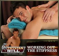 Trystan Bull Porn hung muscle hunk trystan bull gets naked massage his cock sucked off muscular stud johnny ryder working out stiffness from next door studios pic