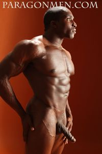 Adonis' big black cock hung black bodybuilder muscle hunk tyrese henderson jacks off his cock paragon men pic