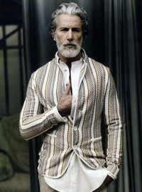 Aiden Shaw Porn vertical stripe multi color cardigan gray beard old gentleman menswear tile