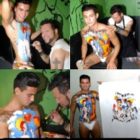 awesome gay porn ricky roman gets awesome body painted charity