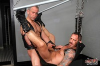 bdsm gay sex Pic hot leather daddy sling fucking