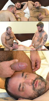 bear man gay sex collages bearfilms hairy bears threeway men spit roast fucking bear bottom