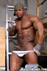 big black men nude black naked ron hamilton gallery ripped muscle bodybuilder strips strokes his hard cock hunks photo