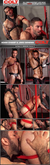 big guy gay porn armour adam champ jake genesis strong men leather pants gay porn