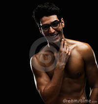 black naked males cheerful naked male wearing spectacles stock