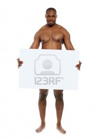 black naked man stockyimages naked black man hiding behind blank white billboard copyspace photo