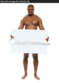 black naked man naked black man hiding behind blank white billboard copyspace ace buy stock photo