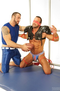 bondage gay sex nate karlton spencer reed bound jocks nasty pig jockstrap gay porn teasing torture bondage scruffy muscle bear masculine rough punching abs blowjob sucking rimming blindfold muscular football gear athletic hot