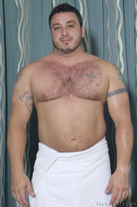 gay bear muscle porn tony theguysite gay porn hairy muscle bear football player build uncut cock solo inked uncircumcised foreskin nude shower fuzzy thick beefy stocky guy