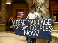 gay bisexual sex gay marriage protester outside minnesota senate chamber same lynchpin voters