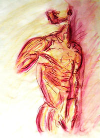 gay male nude models medium large muscled male nude lying side classic erotic model pose watercolor purple yellow sketch zimmerman art paintings gay canvas prints