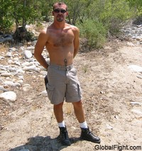 gay muscle posing stud boy hiking musclejock manly dude mountain climbing shirtless