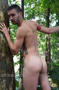 gay sex in woods arnaud chagall bottoms austin wilde outdoor scene gay porn guys sweatpants life goal getting fucked against tree