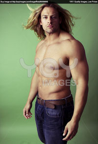 hot male body builders athletic sexy male body builder blonde long hair stock