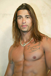 Italian muscle men shirtless long hair hunk cute italian stud