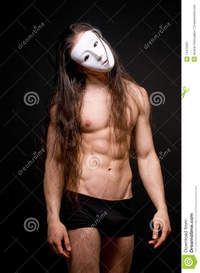 male naked bodybuilders model mask stock