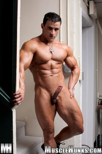 men muscle hunks macho nacho ripped muscle bodybuilder strips naked strokes his hard cock hunks photo gallery