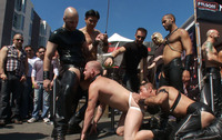 men naked gay sex gay short haired man his knees naked public streets licked ass strong pervert dressed leather outfits gangbangs hunk tied rope front gets fucked bondage group attachment