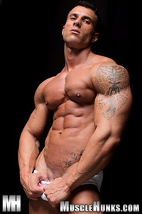 muscle hunks gianluigi volti extra long dick ripped muscle bodybuilder strips naked strokes his hard cock hunks photo cum load