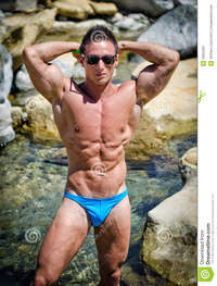 muscled men naked handsome young man standing naked water pond muscle nude hands behind his head royalty free stock photography