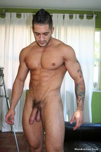 naked black men with huge dicks inked muscle hunk eddie cambio strips naked jacks off his hard cock coffee from man avenue pic