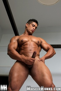 naked Latin hunk pepe mendoza huge hung bodybuilder ripped muscle hunk strips naked strokes his hard cock hunks photo latin garden play