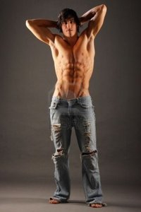 naked male pictures bramble young very muscular half naked male standing pair torn jeans photo