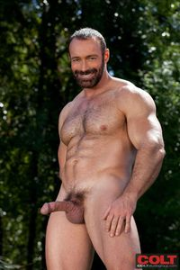 naked men with huge penises hairy muscle hunk brad kalvo strips naked jacks off his hard cock load minute man from colt studio group pic nude men penis page