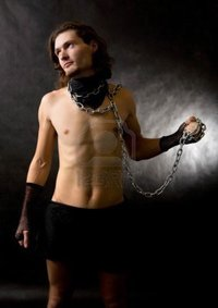 naked muscle mans diter naked muscular man chain collar shadows photo