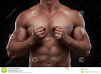 nude bodybuilder bodybuilder measuring tape around his chest nude isolated black background stock photos